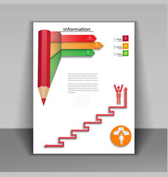 Business booklet with arrows and pencil vector image