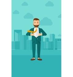 Businessman taking off jacket vector image