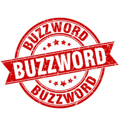 Buzzword round grunge ribbon stamp vector