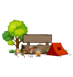 camping children with wooden banner vector image