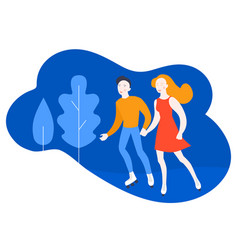 cartoon couple on romantic date in park vector image