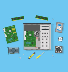 cartoon personal computer components vector image