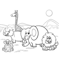 cartoon safari animals group coloring page vector image