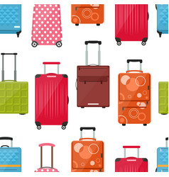 cartoon travel suitcase seamless pattern vector image
