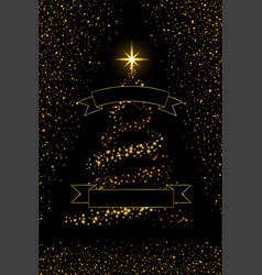 christmas tree ribbon black background gold vector image