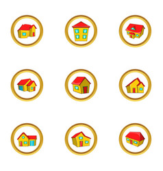 City house icon set cartoon style vector