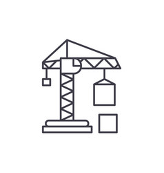 civil construction crane line icon concept civil vector image