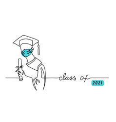 Class 2021 graduating student in face mask vector