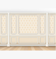 Classic interior with moldings and pilasters vector