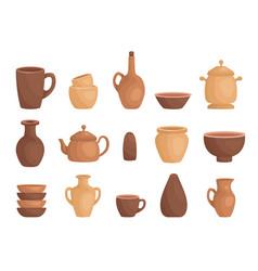 clay kitchenware assortment set cup mug vessel vector image