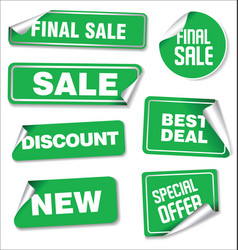 collection of green sale stickers with rounded vector image