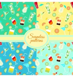 collection seamless patterns with cocktail vector image
