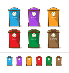 colored recycle bin vector image