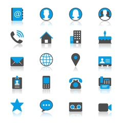 Contact flat with reflection icons vector image