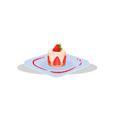 cupcake with strawberry delicious dish of french vector image