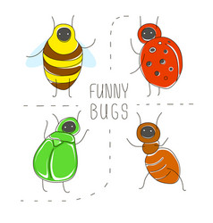 Cute cartoon concept set with funny bugs ladybird vector