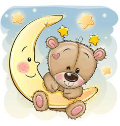 Cute cartoon teddy bear on moon vector