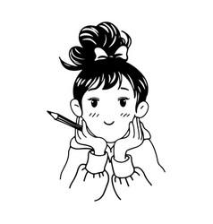 Cute girl holding pencil vector