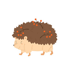 cute hedgehog walking and carry rowan branches vector image