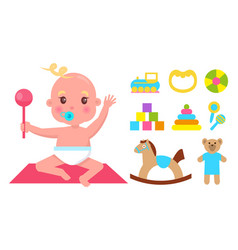 cute infant with nipple and pink rattle banner vector image