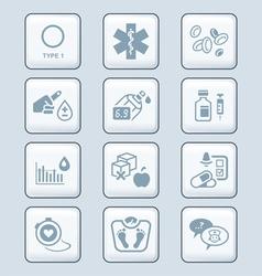 Diabetes icons - TECH series vector image