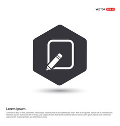 Edit pencil icon hexa white background icon vector