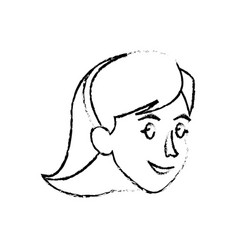 Face woman head smile sketch vector