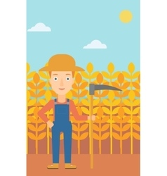 Farmer on the field with scythe vector