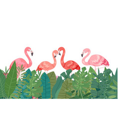 flamingo in tropical paradise banner horizontal vector image