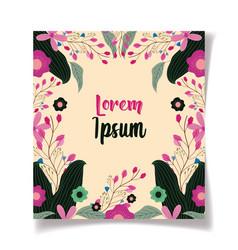 frame flowers botanical floral wedding cards vector image