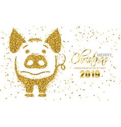golden glitter pig symbol christmas card vector image