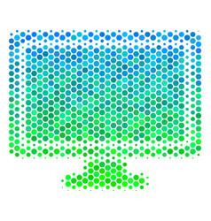 Halftone blue-green computer display icon vector