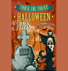 Halloween night party death poster vector