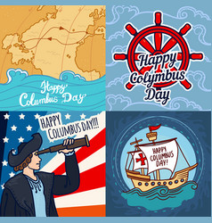 Happy columbus day banner set hand drawn style vector