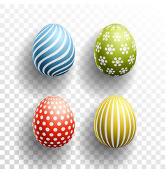 Happy easter colored eggs set with shadows on vector