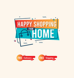 Happy shopping from home logo label tag template vector