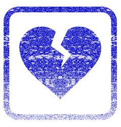 Heart break framed textured icon vector