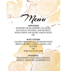 hend-drawn wedding menu template beautiful tender vector image