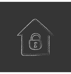 House with closed lock Drawn in chalk icon vector