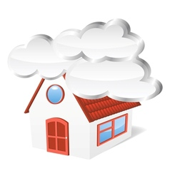 House with clouds vector image