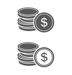 icon coin with images sign dollar on her stack vector image