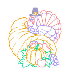icon thanksgiving day cornucopia vector image