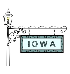 Iowa retro pointer lamppost vector
