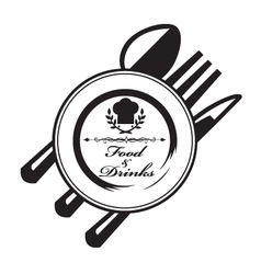 knife fork spoon and plate vector image