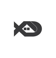 letter xd home shape logo vector image
