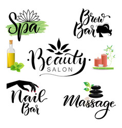 Letterings spa and beauty theme vector