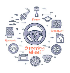Linear round banner of steering wheel vector