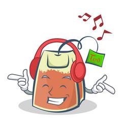 Listening music tea bag character cartoon vector