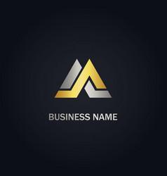 M initial triangle shape company gold logo vector