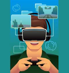 Man playing a virtual reality game vector